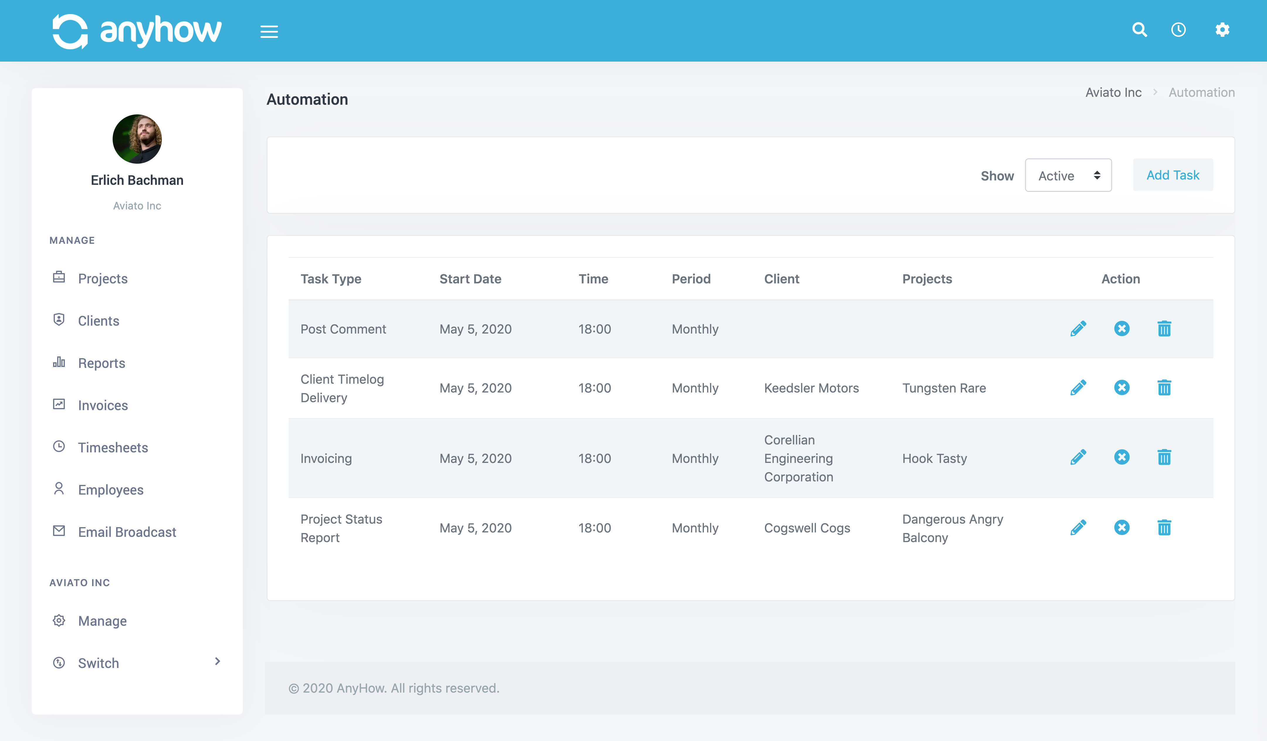 Screenshot of automation listing screen